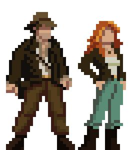 My version of Indiana Jones and Sophia Hapgood. Characters from probably my favourite adventure game, Indiana Jones and the Fate of Atlantis.