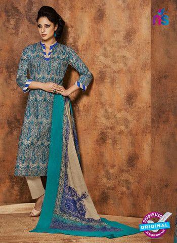 Rivaa 206A - Beige & Blue Color Cotton Designer Suit