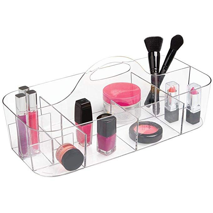 Mdesign Plastic Portable Makeup Organizer Caddy Tote Divided Basket