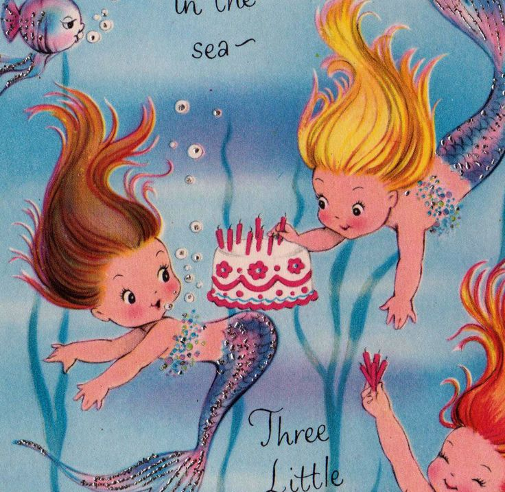 vintage three little mermaids birthday greetings card b2