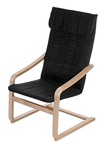 IKAYAA Reclining Bentwood Chair with Padded Cushion Lounge Chair  Comfortable Armchair Reclining Bentwood Chair Solid Birch
