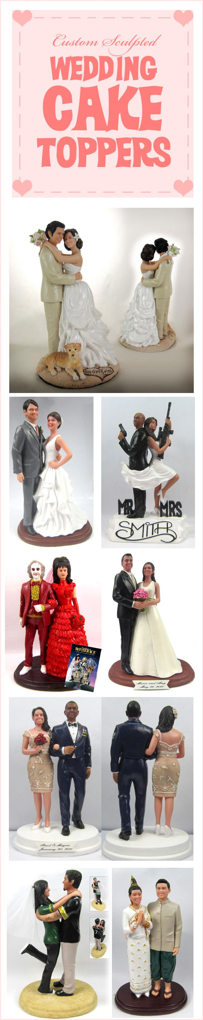 Cake toppers that look like the bride and groom are SOOO awesome!