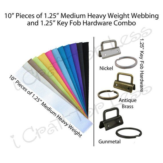 "10 Key Fob Hardware and 5 Yards Medium Heavy Weight Cotton Webbing 1.25/"" Combo"