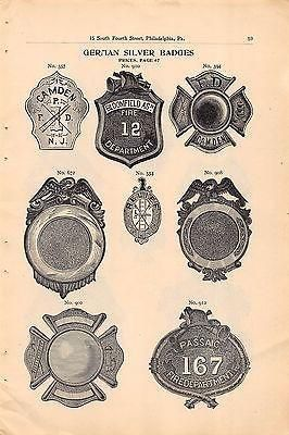 NEW JERSEY FIREMEN & POLICE BADGES ANTIQUE SALES CATALOG ADVERTISING PAGE