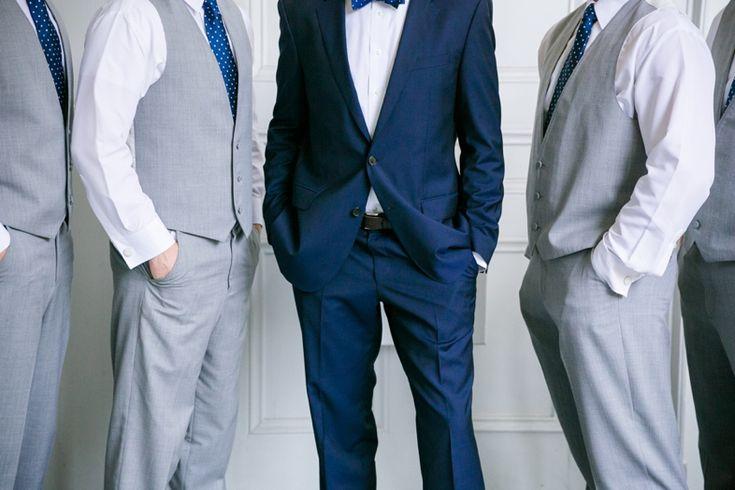 grooms navy hugo boss suit groomsmen light grey vests