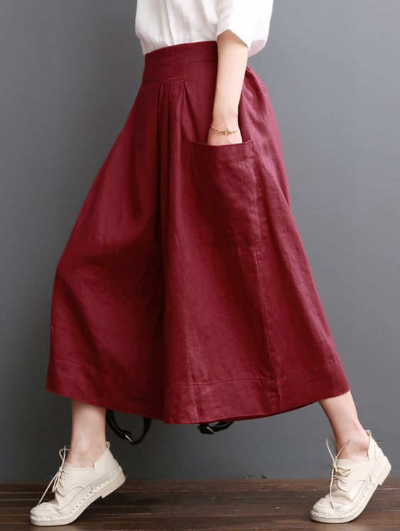 Linen pants summer red wide leg pants crop trousers