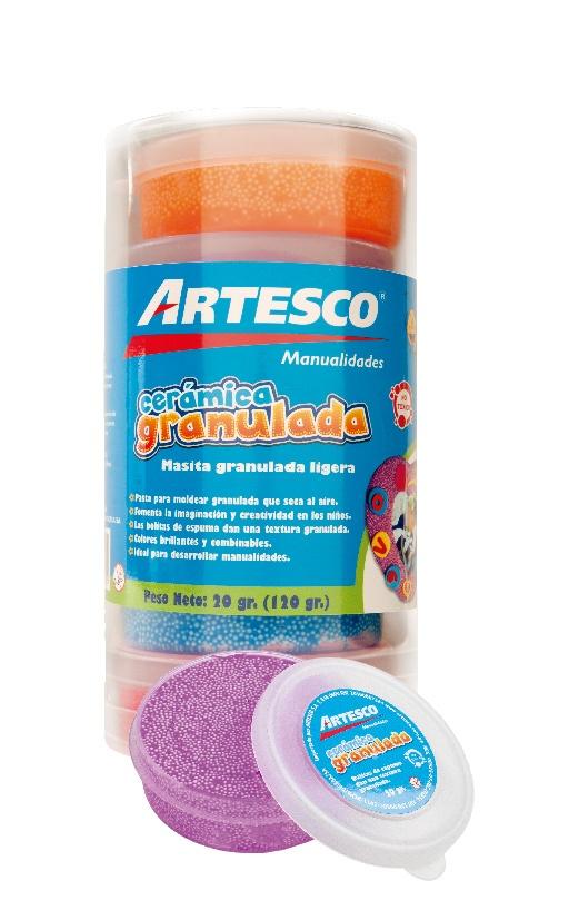 Cerámica granulada. Bolitas de espuma que dan textura granulada. ¡Divertidísimo usarla!