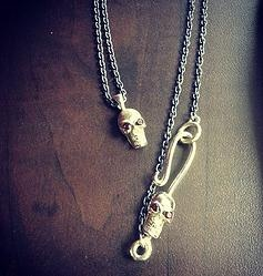 Double Skull Hook Chain Necklace