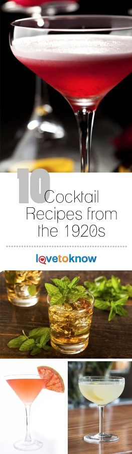 Even though alcohol consumption was outlawed by Prohibition during the 1920s, it didn't stop people from consuming cocktails. Bootleggers found ways to create and supply liquors such as gin and whiskey, which served as the alcoholic base for many of the popular drinks of the time. | 10 Cocktail Recipes from the 1920s from #LoveToKnow