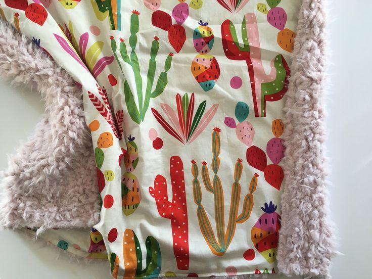 Cactus baby blanket, baby blanket, primary colors baby blanket minky blanket, gender neutral nursery, hipster, modern, baby shower gift by DwellDarling on Etsy