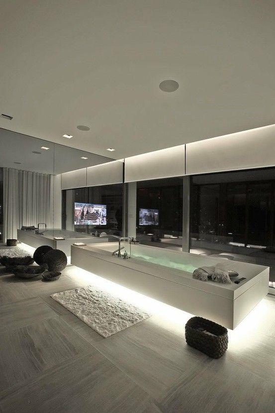 modern home, minimalistic, futuristic interior, future home, futuristic bathroom, tv, futuristic furniture, futuristic interiror design,bath by FuturisticNews.com