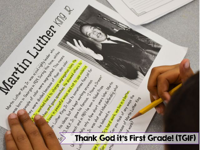 What close reading looks like in my first grade classroom and a Martin Luther King Jr. close reading FREEBIE for 1st/2nd grade!
