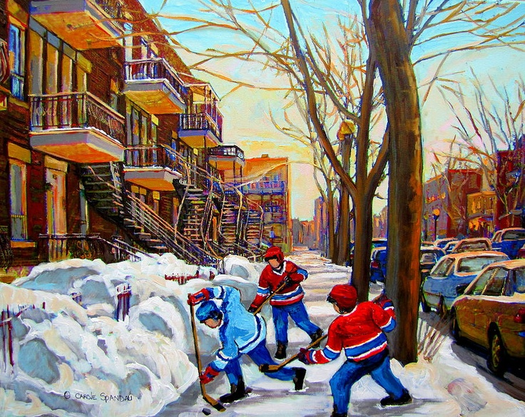Hockey Art - Paintings Of Verdun- Montreal Street Scenes In Winter by Carole Spandau