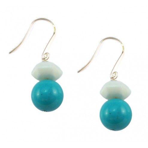 Lola Rose Marisa Blue Magnesite & White Sea Shell Marble Earrings at aquaruby.com