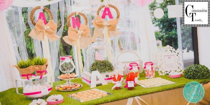 My Daily Deco la mesa de dulces perfecta para una Primera Comunión   COMUNIÓN TRENDY :: Mil ideas para organizar una Primera Comunión :: Vestidos de comunión, Recordatorios, Trajes de Comunión
