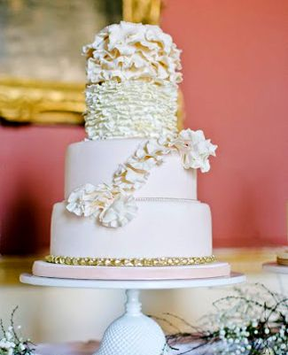 Romantic Ruffles and Petals for this bespoke design #weddings #weddingcakes