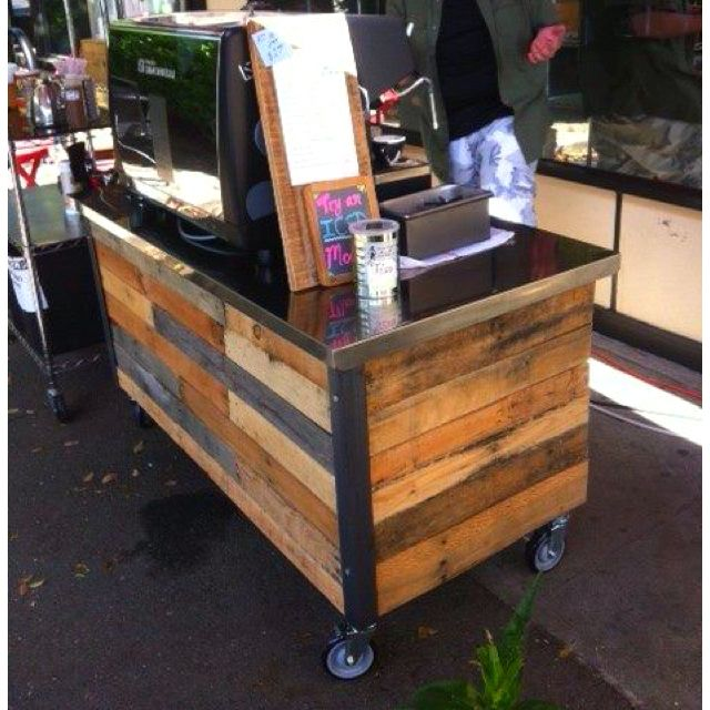 Office coffee cart White Metal Bar Coffee Cart Out Of Wood Pallets Maybe Could Weld Up Top And Frame From Stainless Holy Ground Cafe Ideas Coffee Carts Coffee Mobile Coffee Cart Pinterest Coffee Cart Out Of Wood Pallets Maybe Could Weld Up Top And
