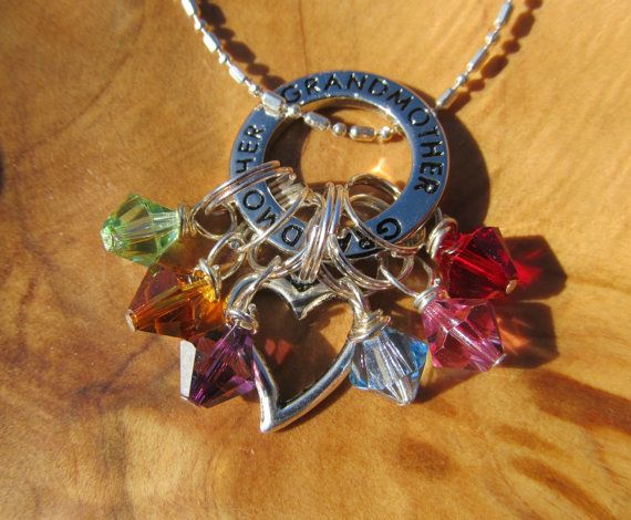 GRANDMOTHER with HEART Family Birthstone Charm by DestinyAccessory