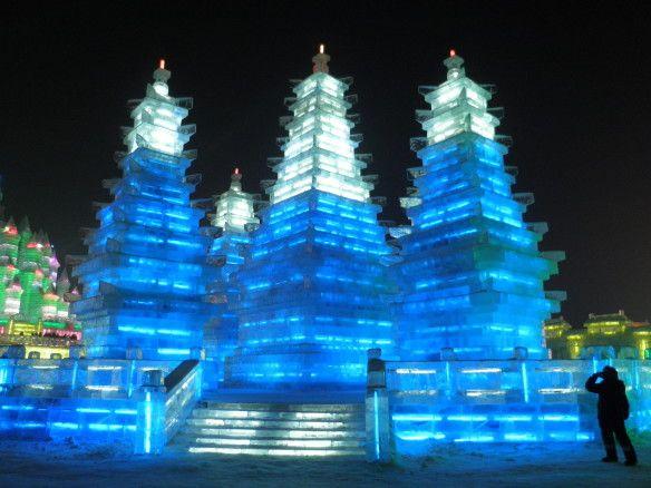 Chinesische Architektur in der Eiswelt