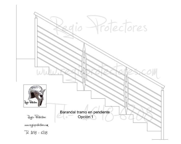 Barandal para escalera en tramo inclinado pasamano para for Escaleras para planos