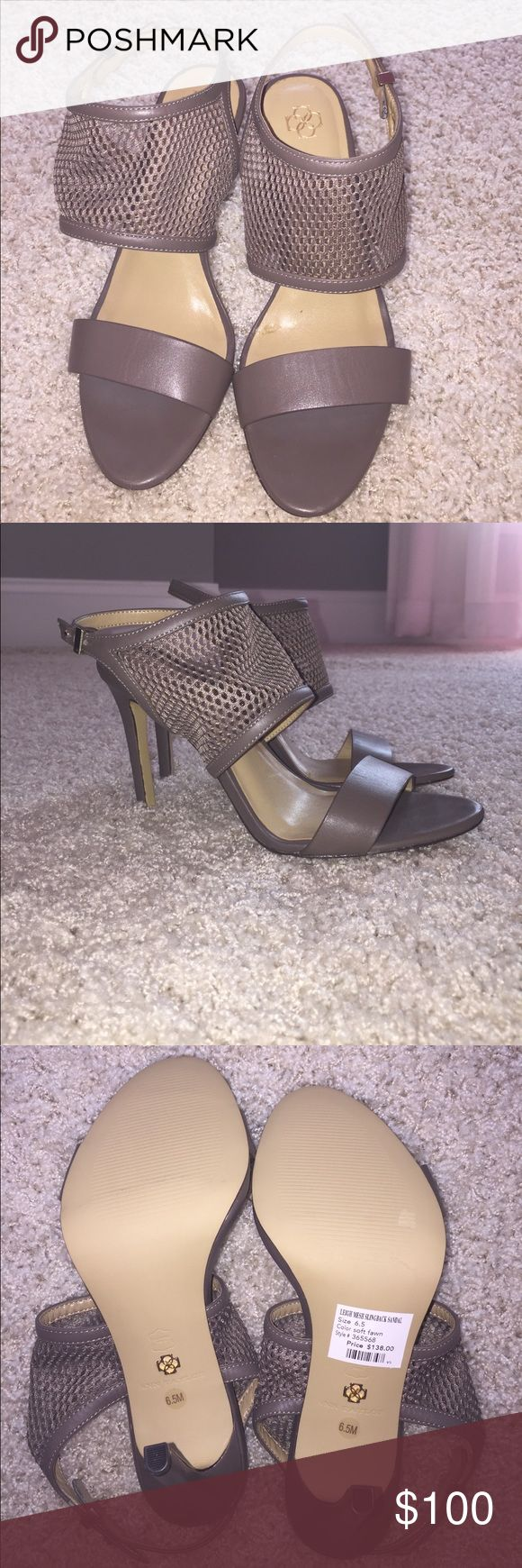 Ann Taylor Leigh Mesh Slingback Sandal Never worn, very soft leather and padded heels Ann Taylor Shoes Heels