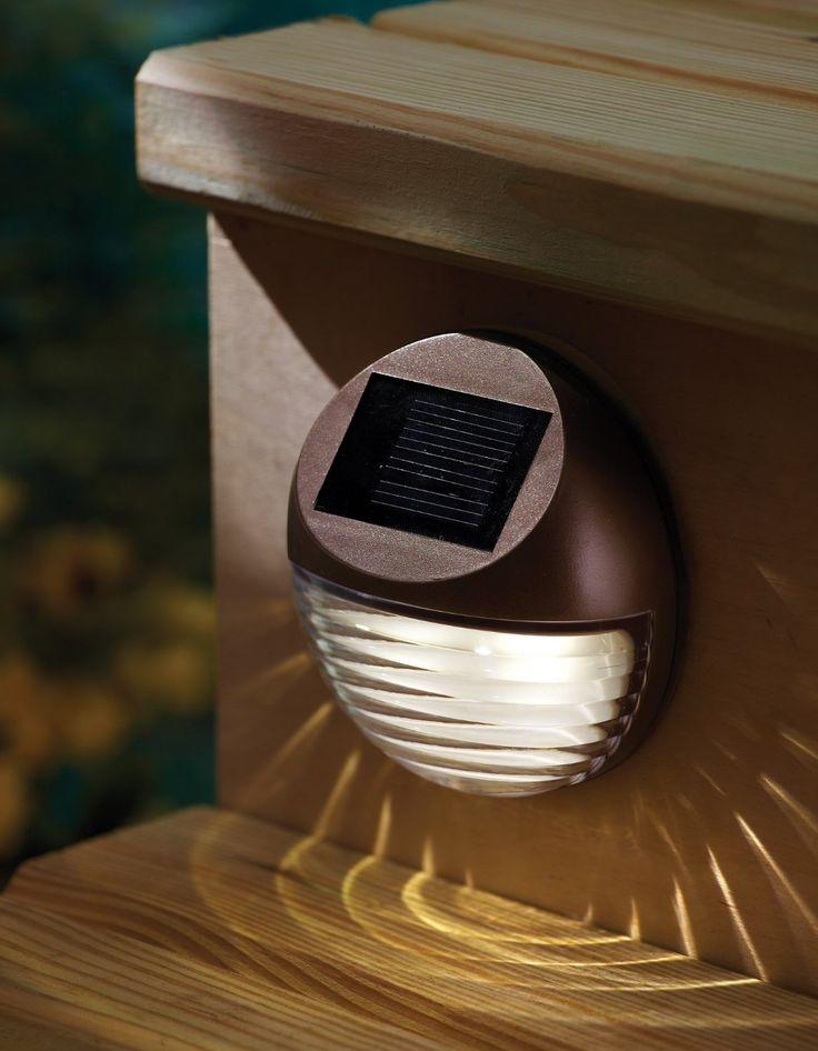 moonrays 95027 wall post mount solar deck light round