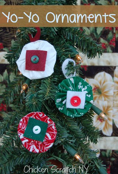 Stitch up a few quick Yo-Yo Ornaments to coordinate with your holiday decorations