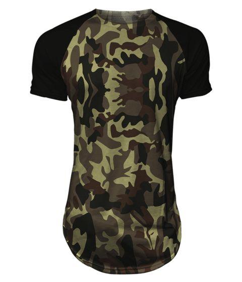 Camiseta long line oversized raglan Camuflada Exército Masculina Gamer 33 LOJA HDR