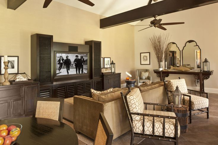 mirrored entertainment center with closed back home theater mediterranean and wall decor