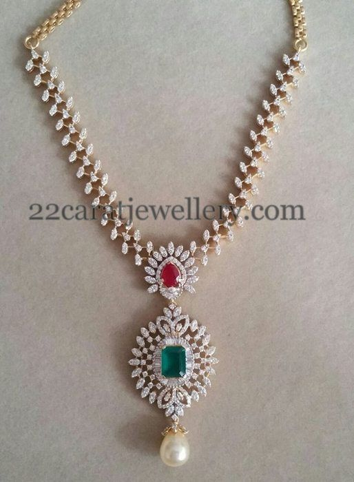 Jewellery Designs: Regal Look Simple Diamond Set