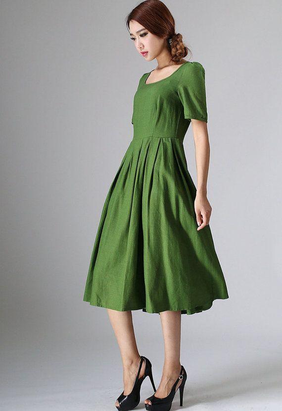 Schattig midi jurk groene linnen jurk met Achterknoop door xiaolizi