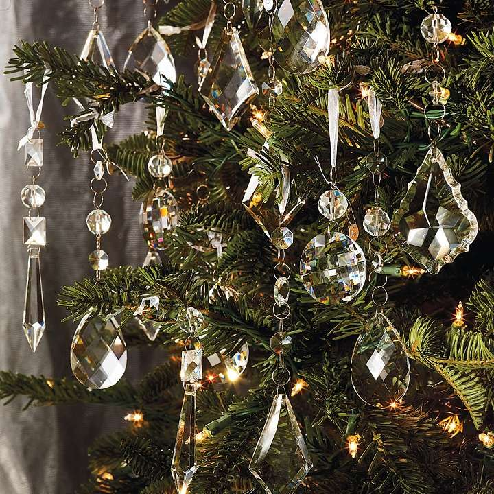 set of 24 crystal droplets with silver hangers good use for all those leftover - Crystal Christmas Tree
