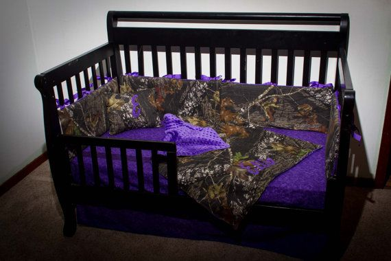 Custom 4 piece Mossy Oak bedding hunter camo camouflage crib bedding Purple (most colors available) on Etsy, $260.00