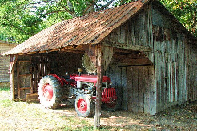 cool old barn & tractor, old metal tub hanging - My Grandparents old chicken coop looks like this! :) Half of the area where the tractor is used to be fenced off to hold the pigs. Oh the memories! My Grandma still lives in the house across the road.