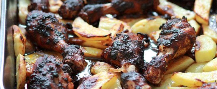Amerikansk kyckling BBQ med rostad klyftpotatis & coleslaw - City Gross