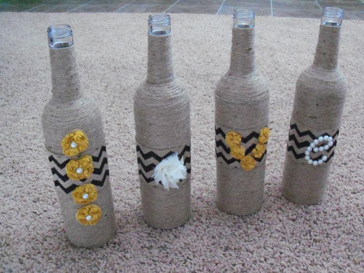 Jute wrapped bottles spell love by SamanthaLynnJones on Etsy, $55.00