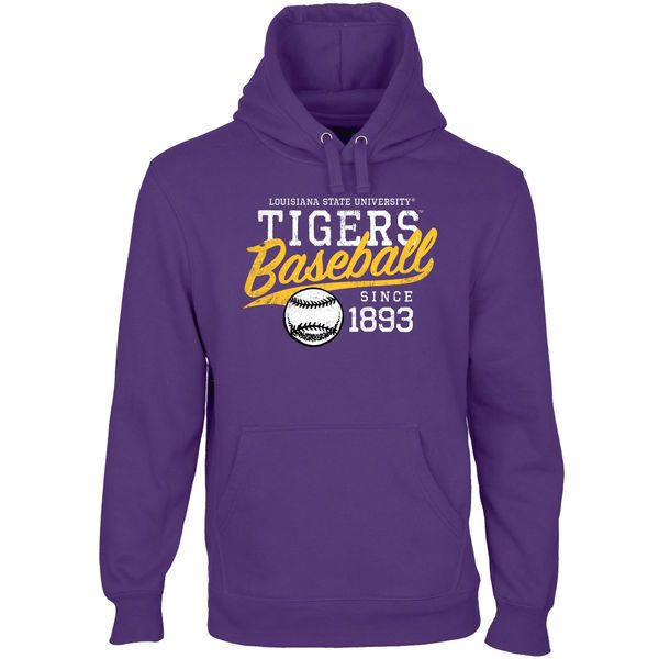 LSU Tigers Baseball Ballpark Pullover Hoodie (Purple)...