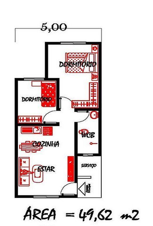 Só Projetos Grátis: Projeto grátis de uma casa com 49 M² para terrenos com 5…