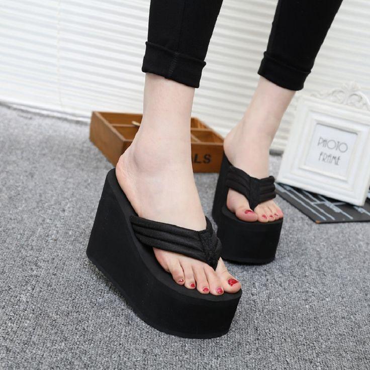 >> Click to Buy << Hot 2016 New Women Summer Shoes High Heels Beach Sandals Soild Wedge Platform Flip Flops Woman Shoes F583 #Affiliate