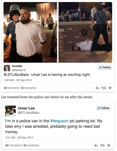 "Muslim Arrested In #Ferguson: ""I Could Cut Your Neck With the Sword Of Islam And Watch You Squeal Like A Bitch Like Daniel Pearl"" -- Agitator Umar Lee was arrested last night during the Ferguson protests. Lee, who is a Muslim radical, wrote the following to a critic in 2010: ""I could cut your neck with the sword of Islam, and watch you squeal like a bitch like Daniel Pearl."" Lee, who is also a supporter of Bashar Assad, is raising money to go to Syria. [...] 09/30"