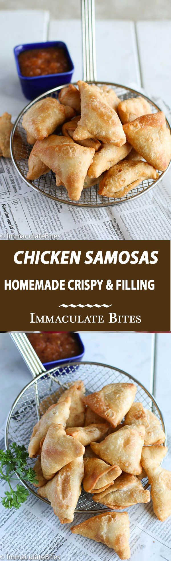 Super Crispy Chicken Samosas full of chicken , peas and spiced up with just enough spices and heat . Step-by-step pictorial!