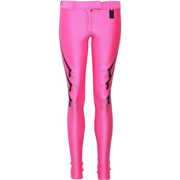 Shocking stretch-satin jersey leggings ($145) ❤ liked on Polyvore featuring pants, leggings, bottoms, pink, pantalones, zipper pants, neon pink leggings, pink leggings, leggings pants and neon pink pants