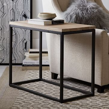 Box Frame Narrow Side Table - Wood #westelm. 28W, 14D, 22.75H. $199 on sale