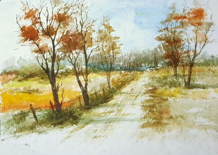 """""""Country Road"""", a water colour painting by a fine artist Bhanupratap Khare"""
