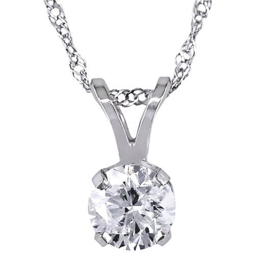 Amour 14K White Gold with White Diamond Stone Solitaire Pendant #iwantthisformom I would want her to wear this to her grandson's (myson) graduation. She is finally moving back home and has missed many graduations and celebrations, so this would be perfect for Mothers Day then for Graduation and all other holidays she will be home for!