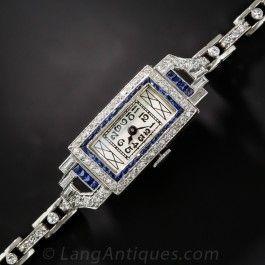 Platinum Diamond and Sapphire Art Deco Bracelet Watch