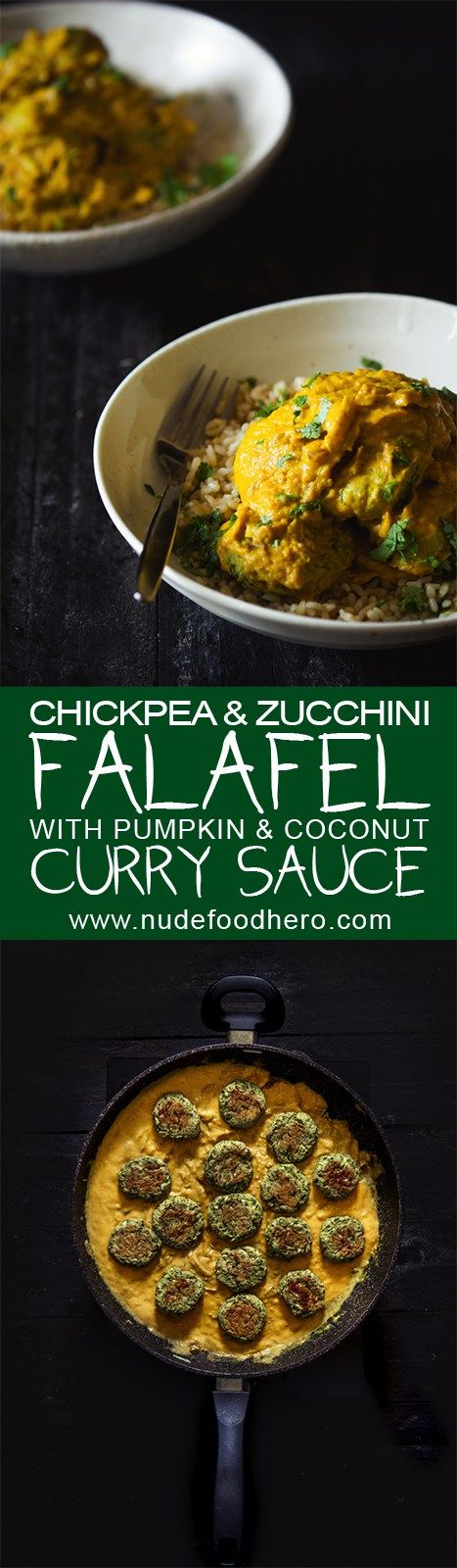 Indian and Middle Eastern cuisines collide into vegetarian, comfort food awesomeness with zucchini falafel swimming in a coconut and pumpkin…