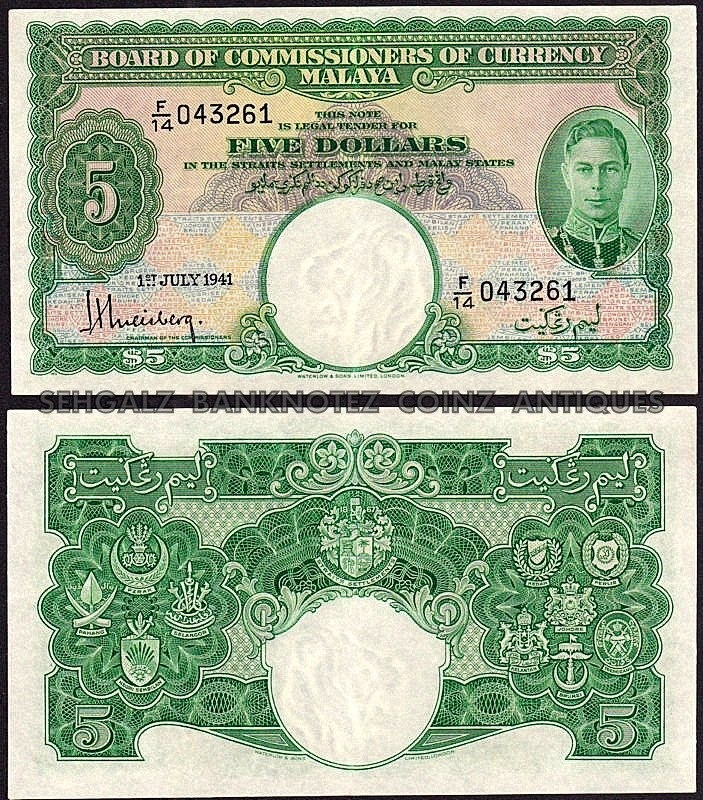 King George VI - 5 Dollars 1941 Malaya Straits Settlements Note About Uncirculated ( AUNC ) RARE