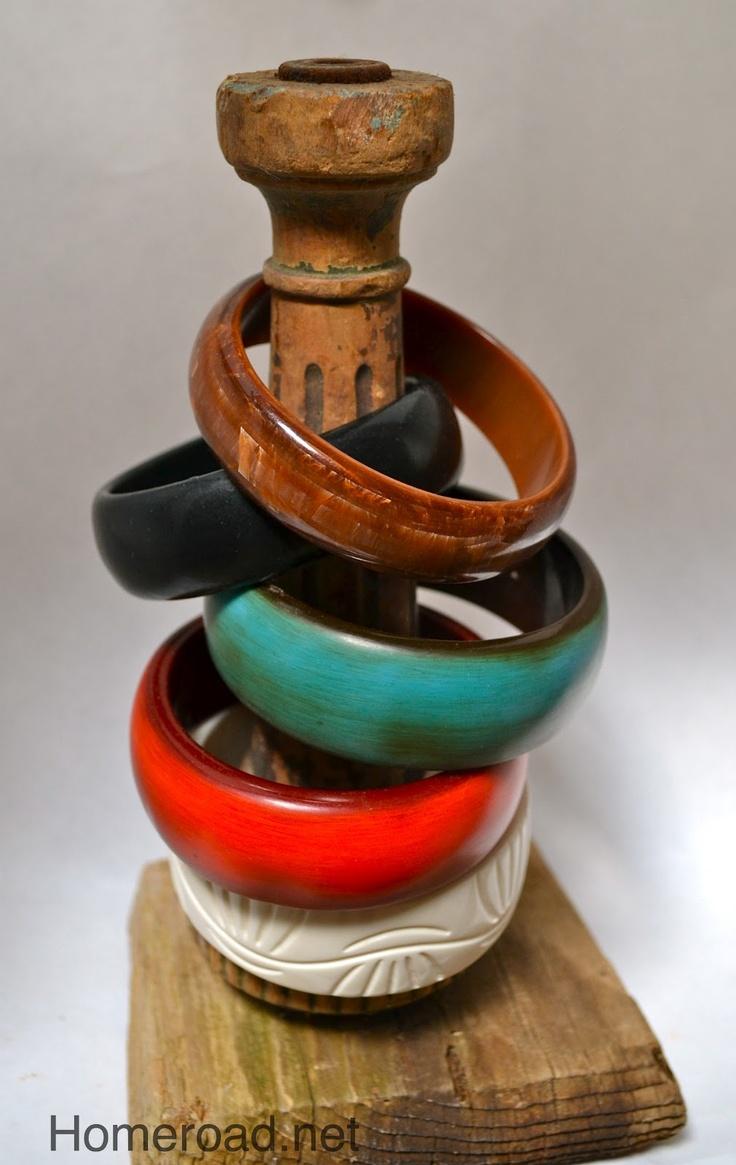 Bangle Bracelet Holder   Turn an old dresser leg screwed to   a wooden base...