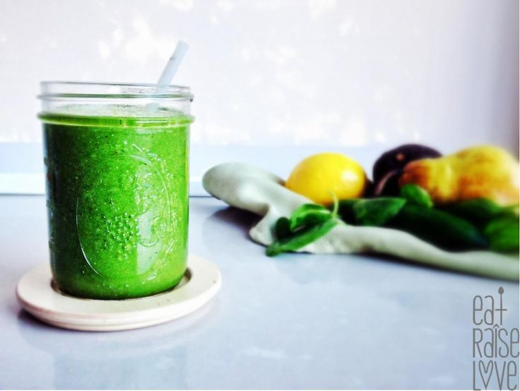 Pear and Passion fruit Green Smoothie, packed with avocado, cucumber and chia seeds. Recipe here... http://www.eatraiselove.com/eat/pear-passion-fruit-green-smoothie/